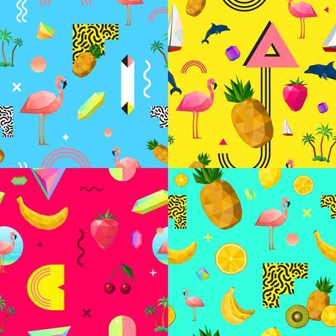 Conjunto de patrones decorativos coloridos sin costura vector