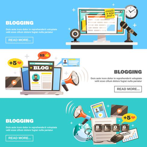 Blogging Horizontal Banners Set vector
