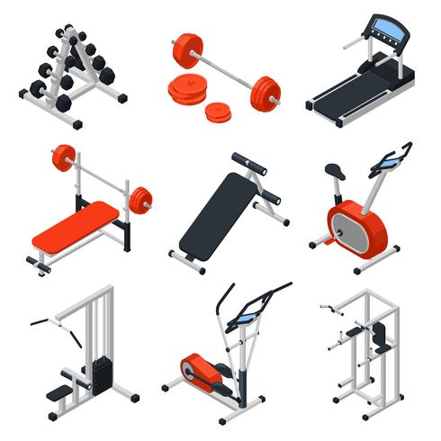 Gym Equipment Isometric Set vector