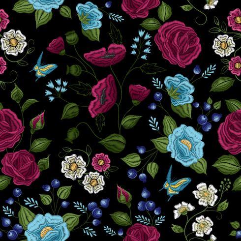 Bloemen borduurwerk naadloze patroon