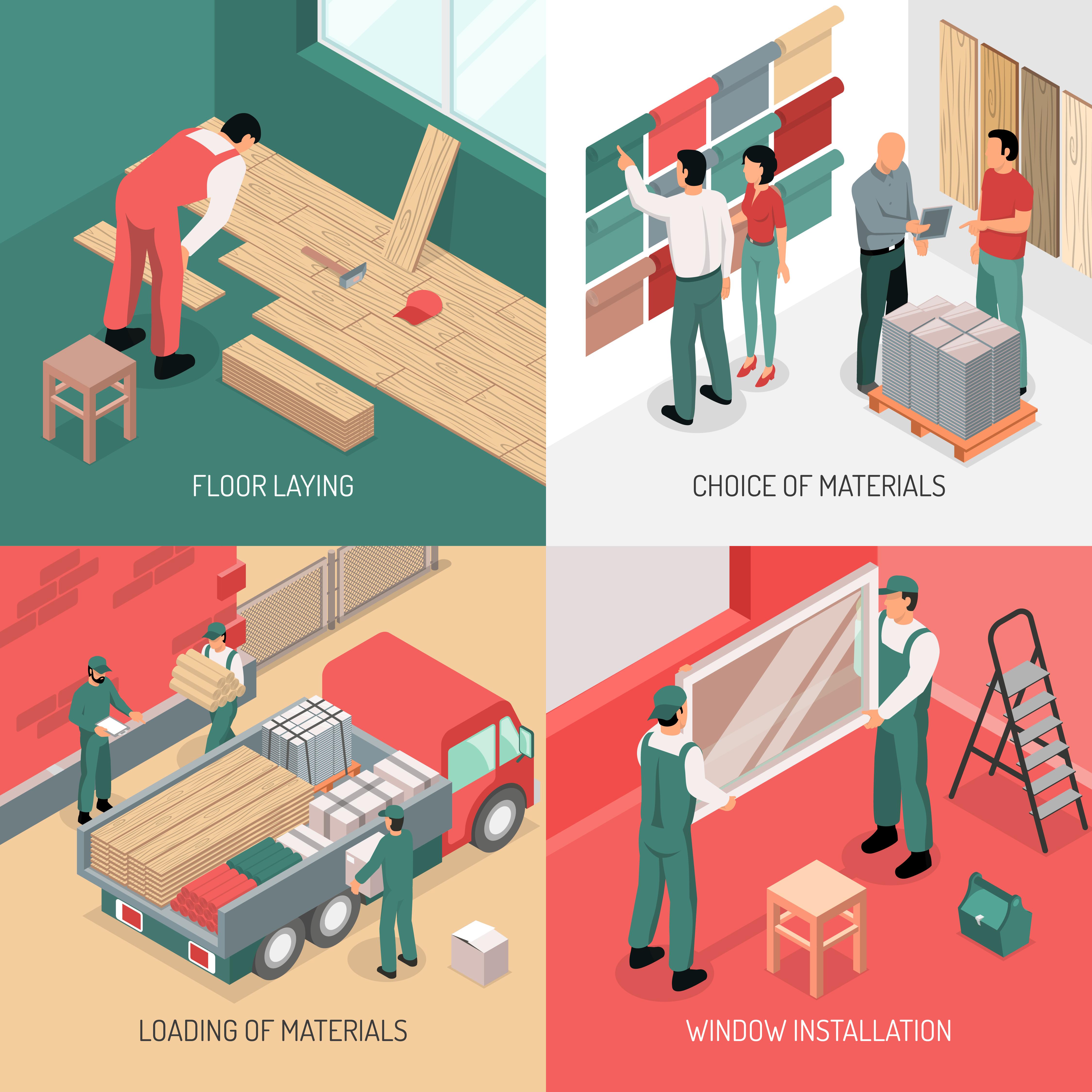 Isometric renovation design concept download free vector for Home design 3d professional italiano gratis