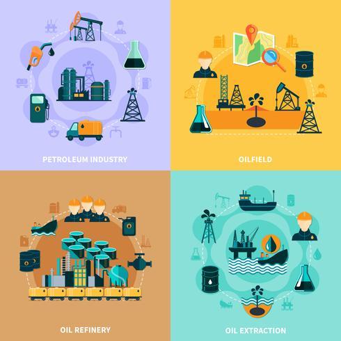 Concepto de diseño de infraestructura petrolera vector