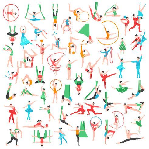 Gimnasia y ballet big set vector