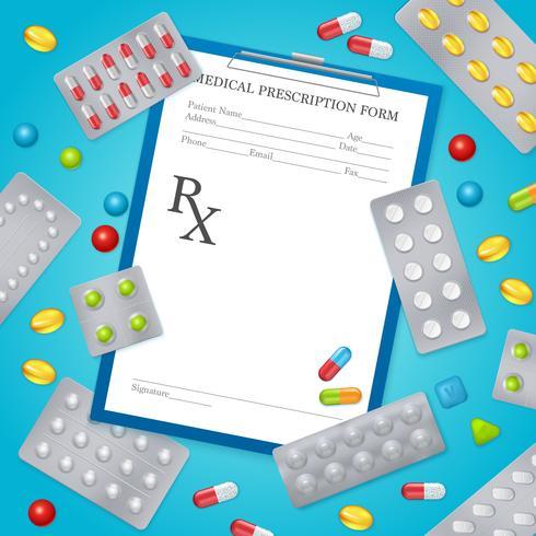 Affiche de fond médical de prescription de drogue vecteur