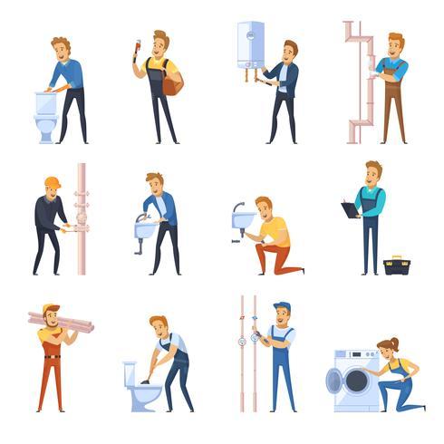 Conjunto de iconos de colores planos de trabajo plomeros vector