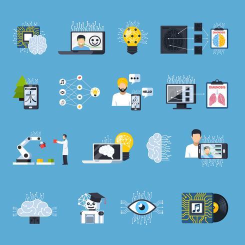 neurale netten netwerken decoratieve pictogrammen instellen