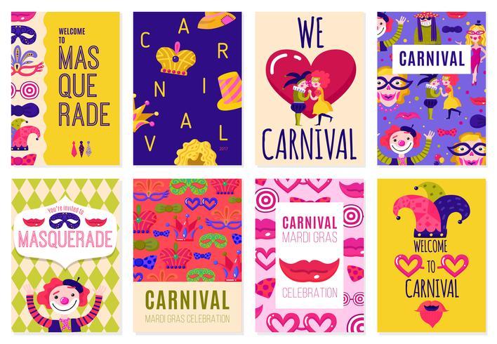 Set von acht Karneval-Plakaten
