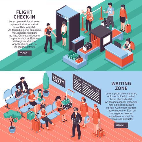 Conception de bannières isométriques départ aéroport vecteur