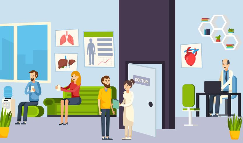 Waiting Room In The Clinic Composition vector