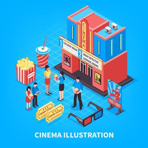 Concepto de diseño isométrico cinematográfico vector