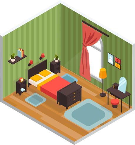 Concepto de interior dormitorio vector