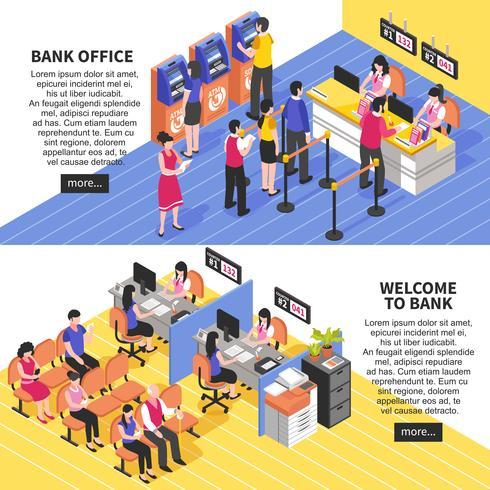 Bank Office Horizontal Isometric Banners vector