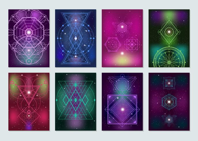 Colección de coloridas banderas de geometría sagrada
