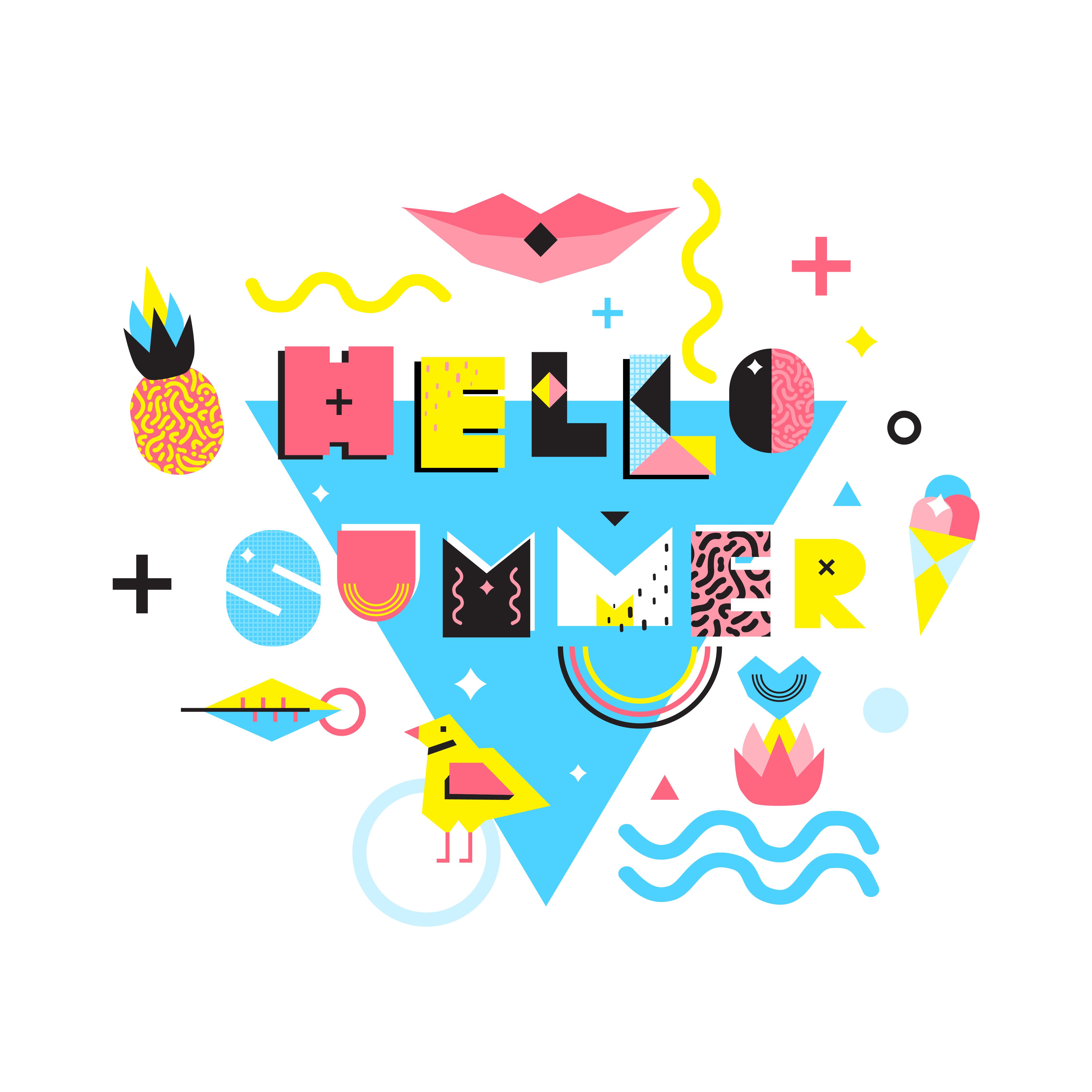 Hello Summer Memphis Style Illustration - Download Free ...