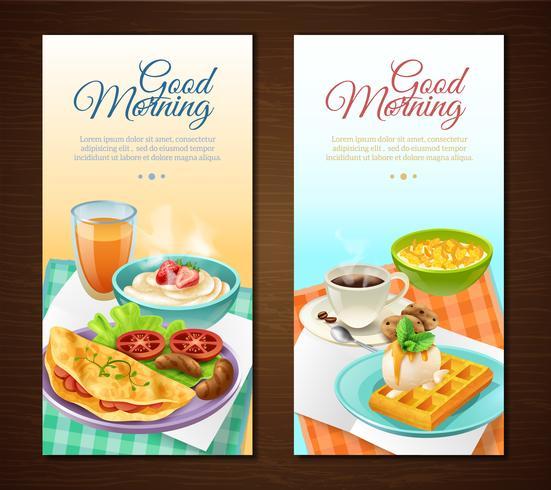 Banners verticales de desayuno vector