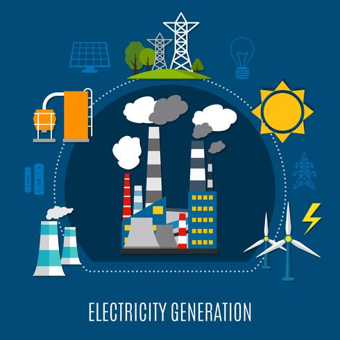 Electricity Generation Flat Composition vector