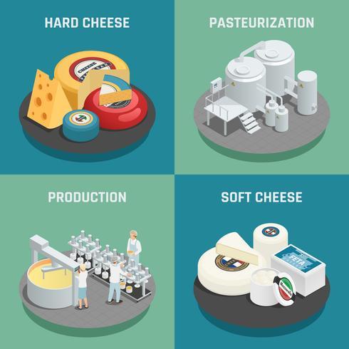 Concepto isométrico de los iconos de la producción del queso vector