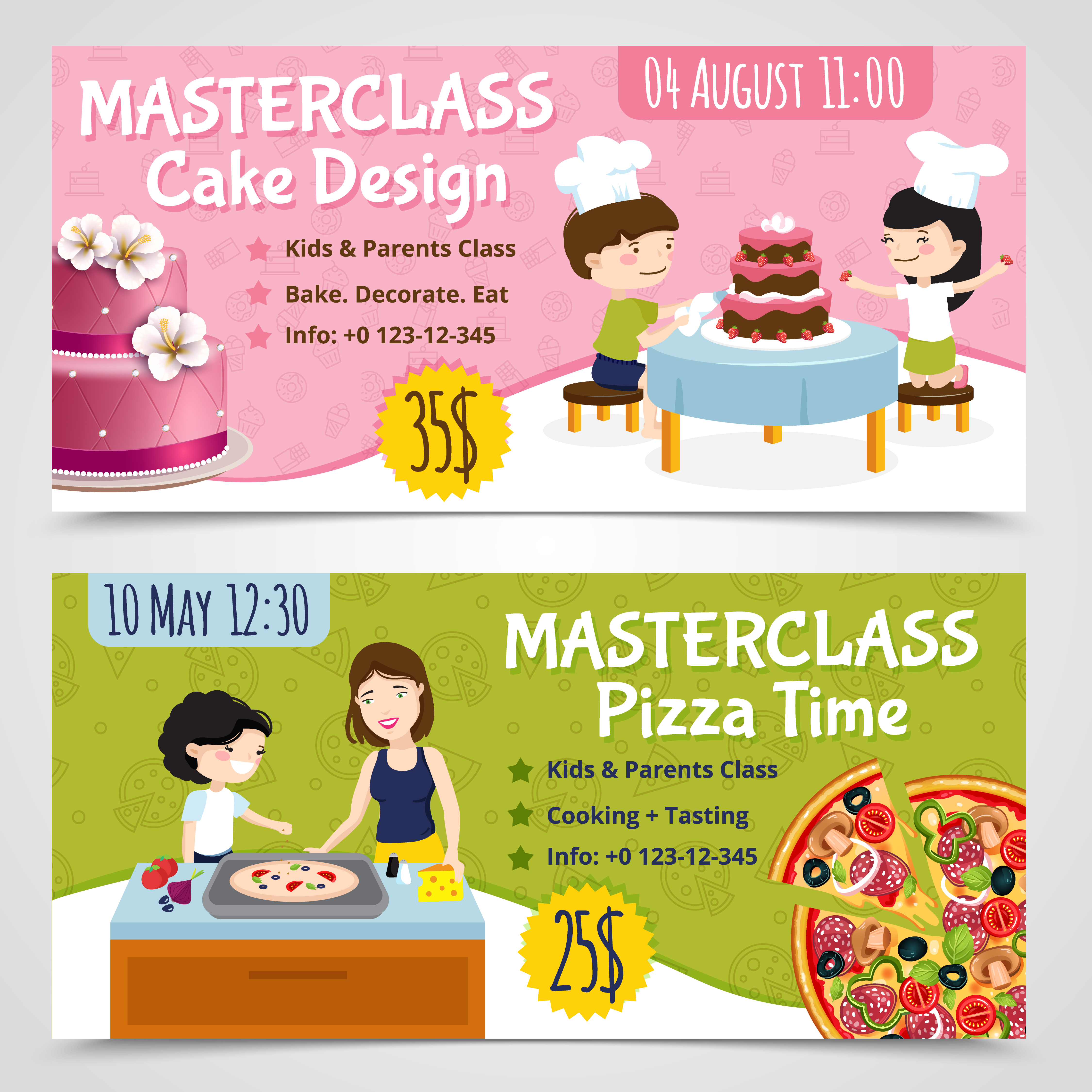 Cooking Masterclass Banners Set Download Free Vectors