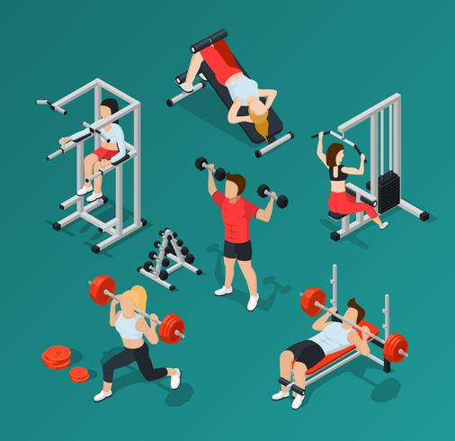 Gym People Icon Set vector