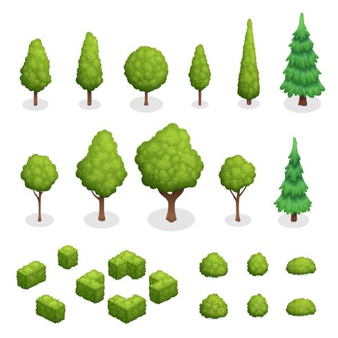 Park Plants Isometric Set vector