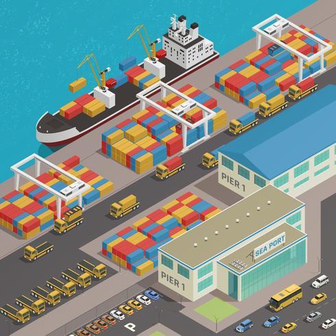 Carga Barcaza Harbour Wharf Isométrica vector
