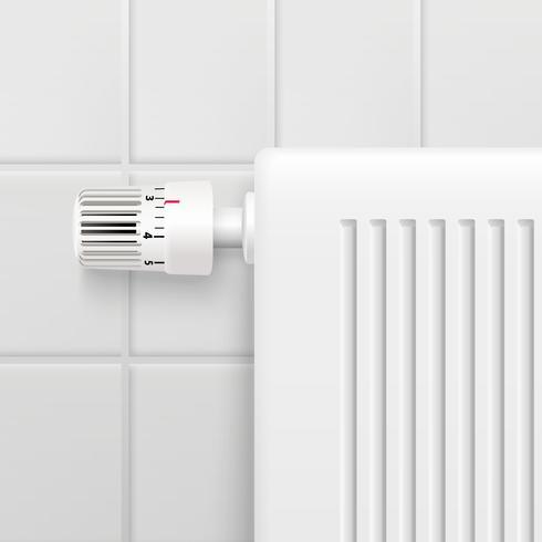 Perilla de control de temperatura Imagen realista vector