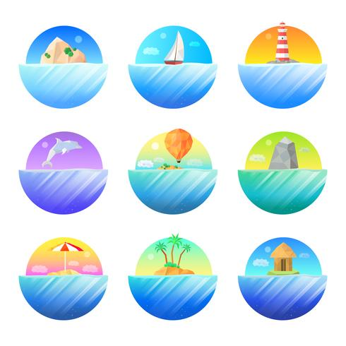 Tropical Island Round Colorful  Icons Set