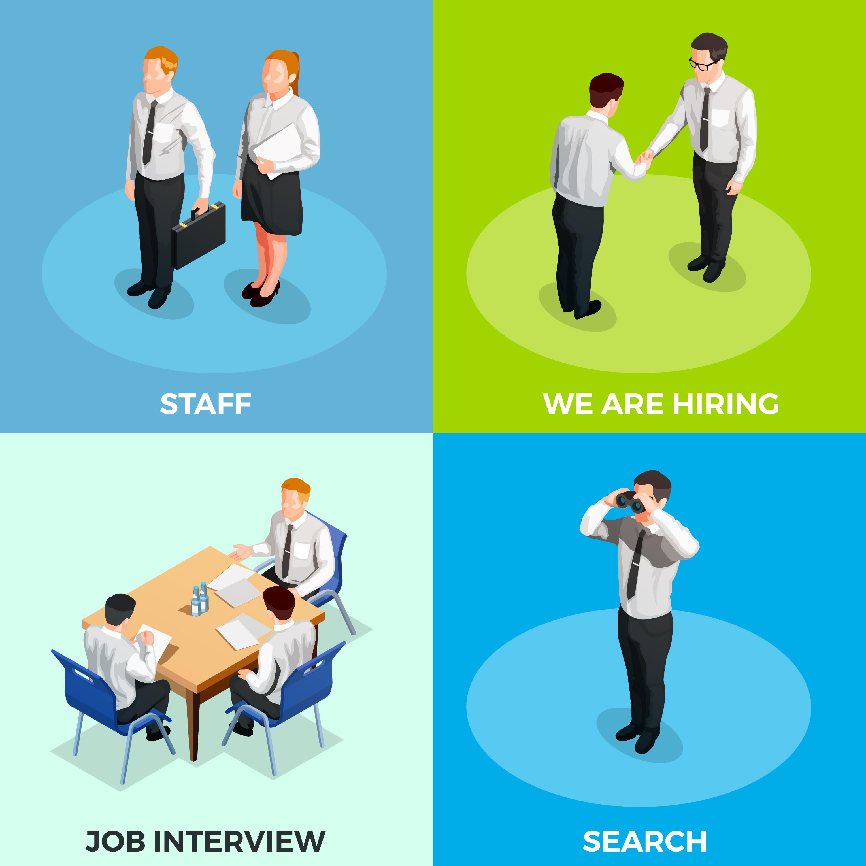 recruitment isometric people set
