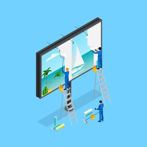 Travel Advertising Isometric Concept vector