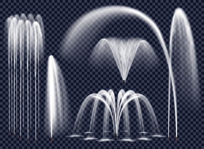 Fontaines réalistes sur fond transparent