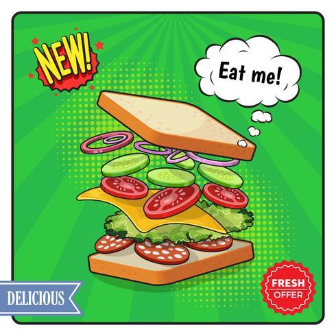 Cartaz publicitário de sanduíche em estilo cômico