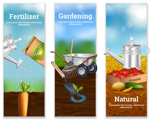 Three Farming Vertical Banners vector