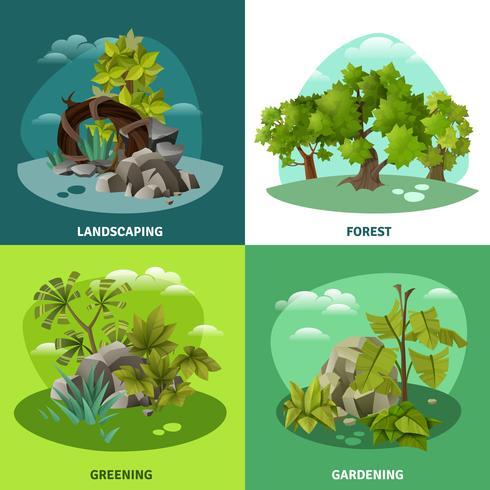 Jardinagem de paisagem 4 conceito de ícones plana