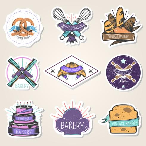 Bakery Stickers Set Vintage Style vector
