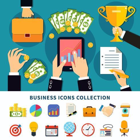 Colección de iconos planos de negocios