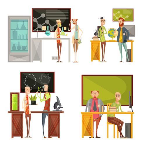 Composições Retro de Professores vetor