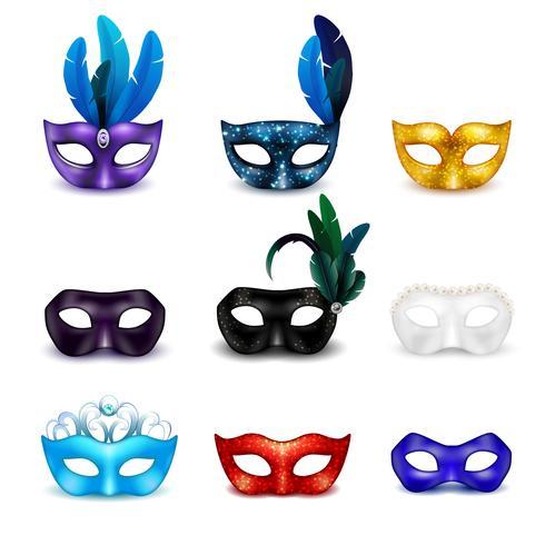 maskerad masker realistisk ikonuppsättning