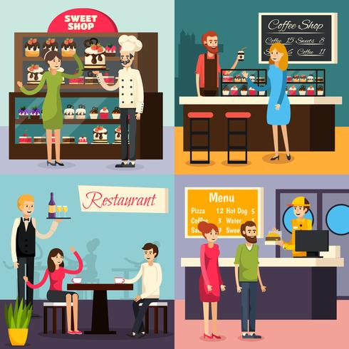 Café Arbeiter flach Icon Set