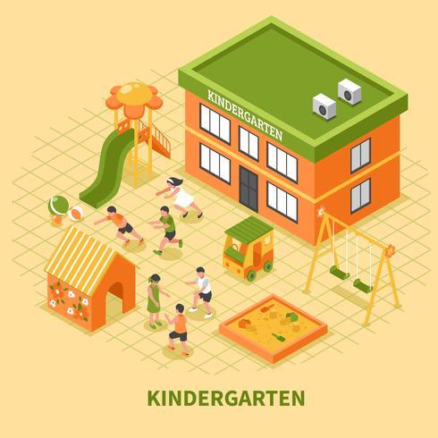 Composição isométrica de edifício de jardim de infância