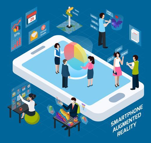 smartphone utvidgad realitet isometrisk komposition