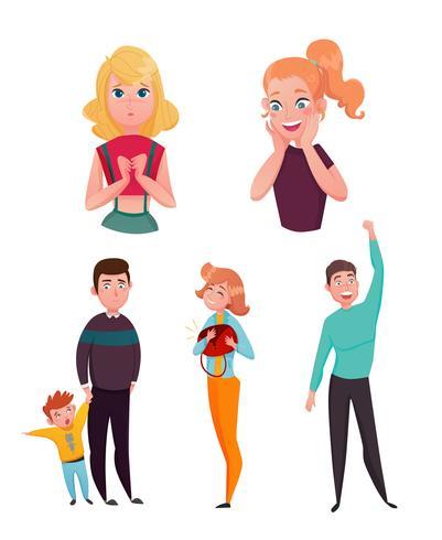 Conjunto de personagens de desenhos animados de emoções de pessoas