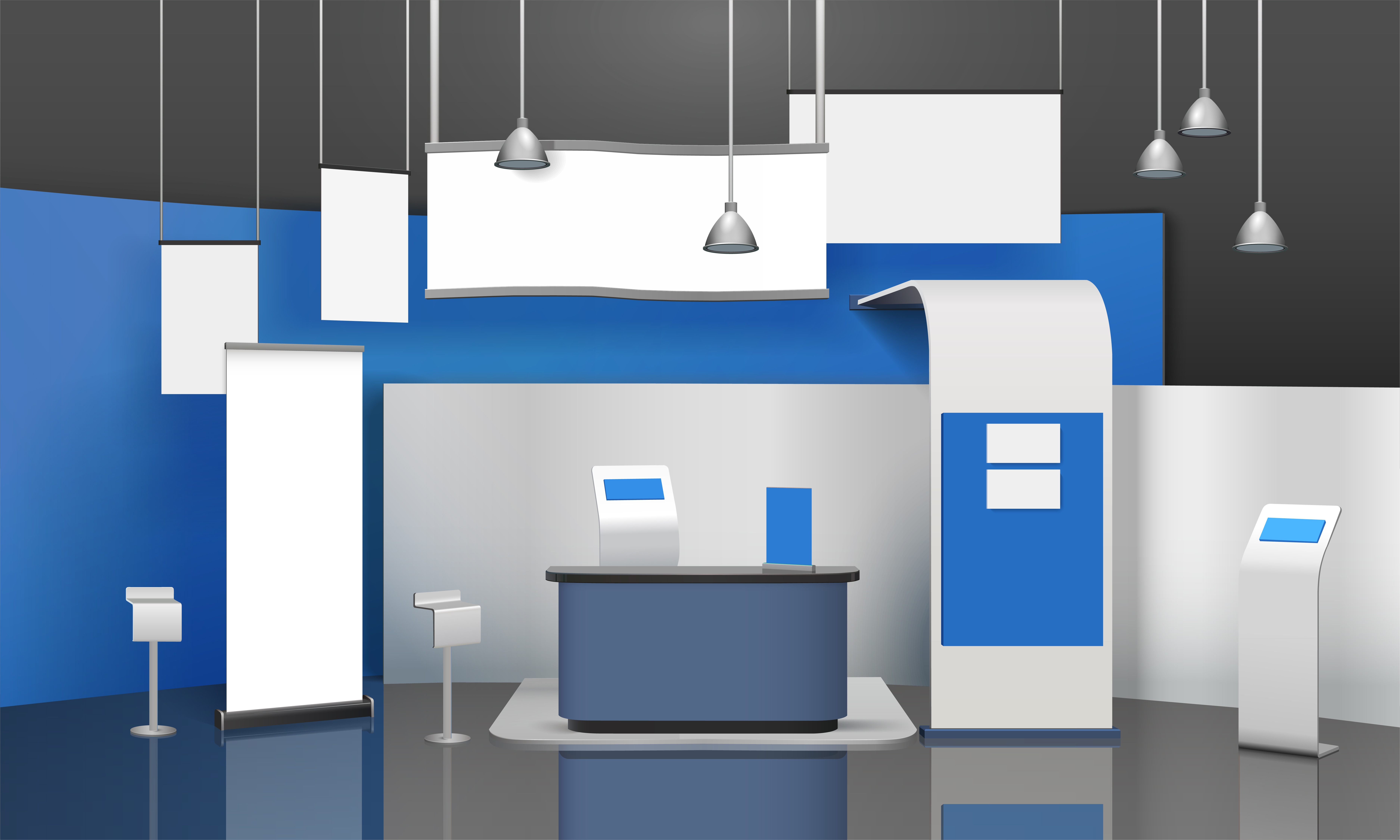 Exhibition Stall Mockup : Exposition stand mockup composition download free vector art
