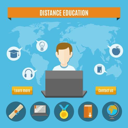 Composición de educación a distancia vector