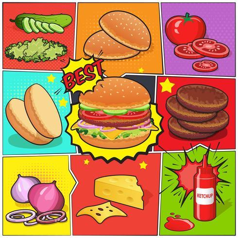 page de bande dessinée de burger vecteur