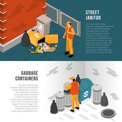 Isometric Garbage Recycling Banner Set vector
