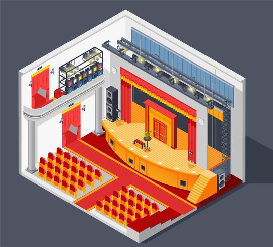 Composição de teatro interior vetor