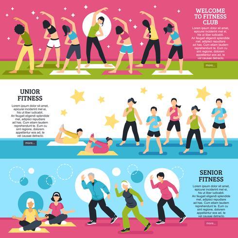 Fitness Classes Horizontal Banners Set vector