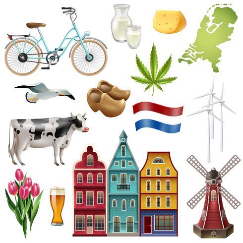 Holland Nederland Reizen Icon Set vector
