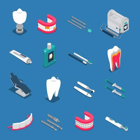 Icone colorate isometriche di stomatologia