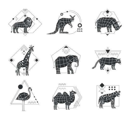 Animali emblemi monocromatici poligonali